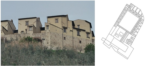 Figure 12: Certosa di Firenze Galluzzo, Chartrehouse in Tuscany, Italy, photograph and ground plan drawing (original scale 1:1.000) by E. Nagel.