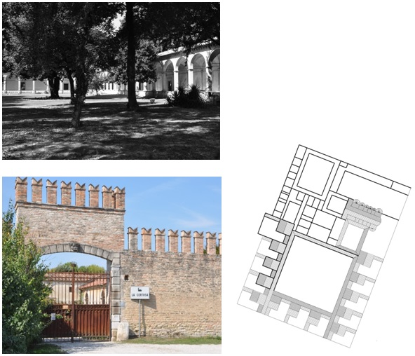 Figure 18: Certosa di Padova, Charterhouse in Northern Italy, photographs and ground plan drawing (original scale 1:1.000) by E. Nagel.
