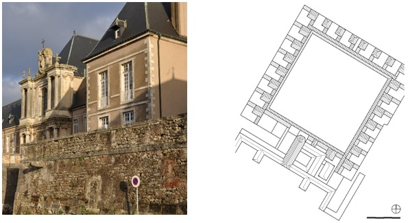 Figure 21: La Chartreuse de Bosserville, Charterhouse in Central France, photograph and ground plan drawing (original scale 1:1.000) by E. Nagel.