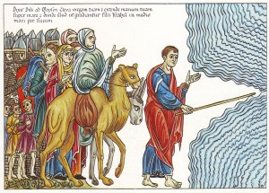 Towards a promised land of Open Access publishing for the Humanities? (Hortus Deliciarum, by Herrad von Landsberg . Public Domain, Wikimedia Commons - https://commons.wikimedia.org/wiki/File:Hortus_Deliciarum,_Moses_f%C3%BChrt_das_Volk_Israel_durch_das_Rote_Meer.JPG#/media/File:Hortus_Deliciarum,_Moses_f%C3%BChrt_das_Volk_Israel_durch_das_Rote_Meer.JPG