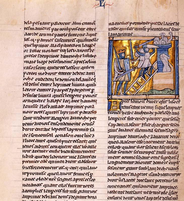 … stellt der Illustrator von BBB Cod. 163 das vorbildliche Kriegsverhalten des byzantinischen Kaisers in den Vordergrund (Ausschnitt aus Burgerbibliothek Bern, Cod. 163, f. 139v).