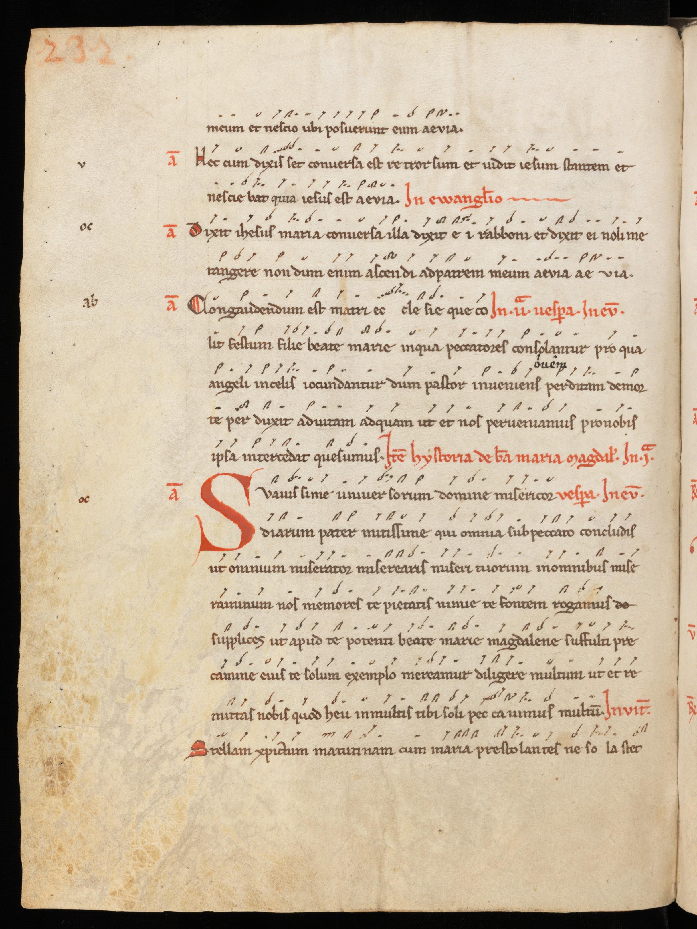 Beginning of Suavissime universorum Domine within the manuscript St. Gallen, Stiftsbibl., Cod. Sang. 389, p. 232.