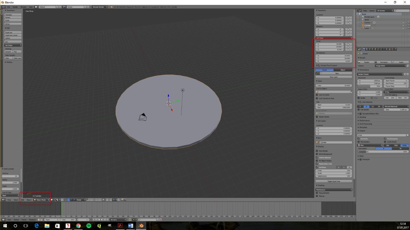 Bild 4 und 5: Konstruktion des Astrolab mit Blender (eigener Screenshot)
