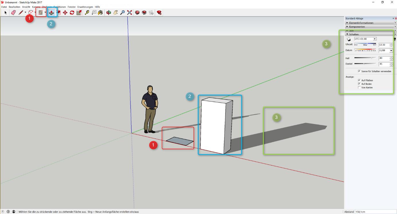 Bild 12: Konstruktion von Objekten in Sketchup (eigener Screenshot)