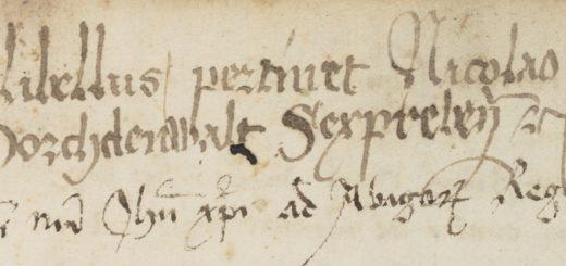 Abb. 4: Besitzeintrag und Titel des ersten Textes in Ruppert 2666, fol. 2r. Foto: Klassik Stiftung Weimar.