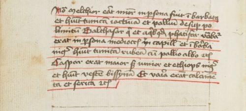 Abb. 11: Beschreibung der Heiligen Drei Könige in Ruppert 2673, fol. 81v. Foto: Klassik Stiftung Weimar.