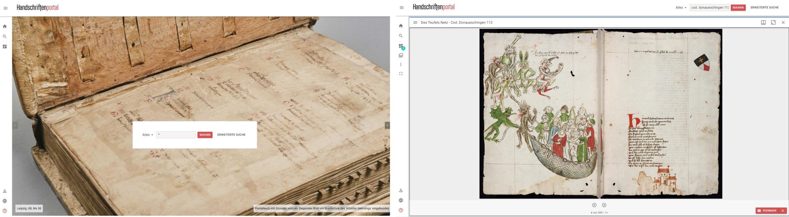 Zwei Ansichten aus der Testumgebung des Handschriftenportals
