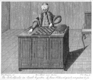 Le Turc mécanique, gravure de Karl Gottlieb von Windisch dans le livre de 1783, Raison inanimée.