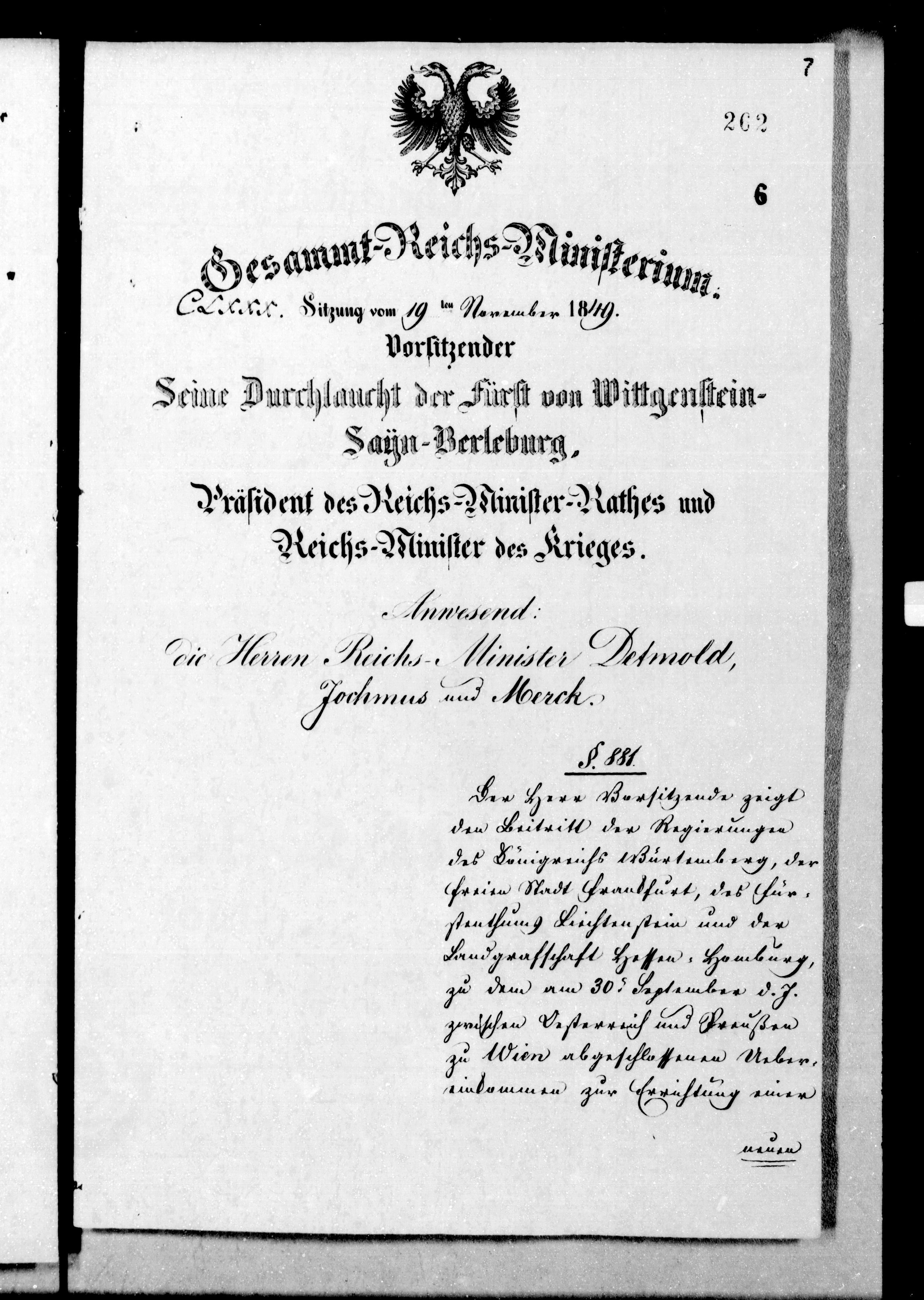 Procès-verbal de la 180e séance du Conseil des Ministres du Pouvoir central provisoire, 19 novembre 1849 (Bundesarchiv Berlin)