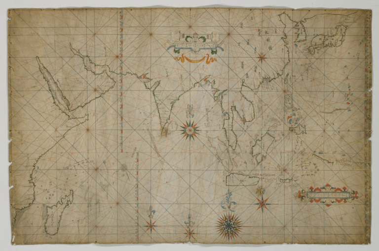 Asian sailing map - Colored sheepskin paper, 62.2x94.3. Edo period/17th century. © Tokyo National Museum