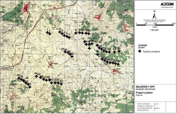 Carte d'implantation des éoliennes  (Source : rapport technique disponible sur http://www.enerjisa.com.tr)