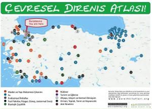 « Atlas des résistances environnementales » diffusé à Gezi. De nombreuses infrastructures de production énergétique y sont indiquées (centrales nucléaires, thermiques, hydroélectriques, solaires et éoliennes …) - Source voir ici