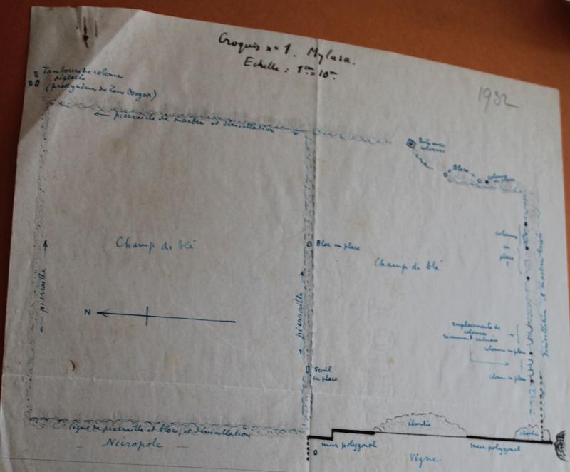 Croquis n°1 : Mylasa. Dessin d'A. Laumonier, archives de l'IFEA