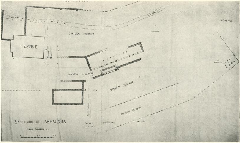 Plan sommaire du sanctuaire de Labraunda, 1932. Dessin d'A. Laumonier, Note sur un voyage en Carie, Revue Archéologique, T.2, 1933, fig. 16.