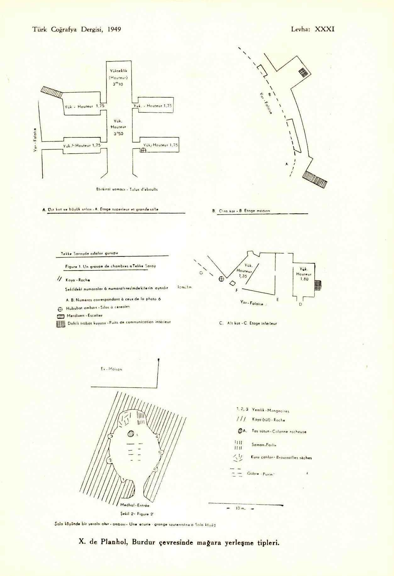 X. de Planhol, « Les types d'habitat troglodyte dans la région de Burdur », Revue de Géographie turque, 1949.