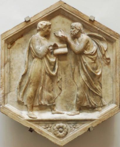 Aristote et Platon en plein débat. Bas-relief de Luca della Robbia (1400-1481)