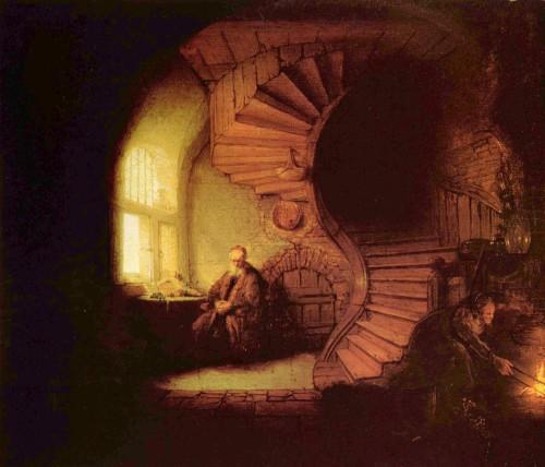 Philosophe en méditation, par Rembrandt (1632).