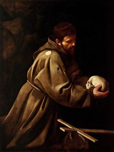 Saint François en méditation, par Le Caravage (c. 1606)