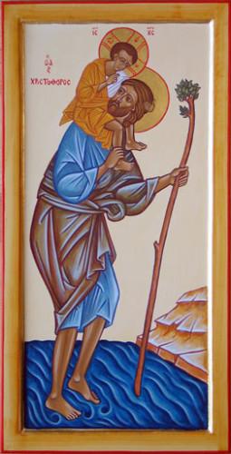 Icône de saint Christophe, portant le Christ, image de la charité.