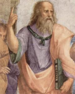 Rapahaël, L'école d'Athènes (détail). Platon montre du doigt le monde des Idées vers lequel l'être humain doit tourner son regard.