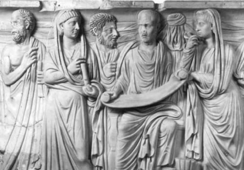 """Plotin et ses disciples, détail du """"Sarcophage de Plotin"""" (environ 280 après JC)"""