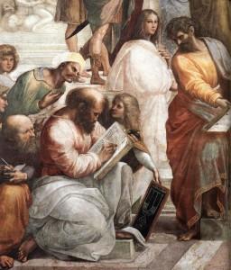 Pythagore, détail de L'école d'Athènes, de Raphaël (1509)