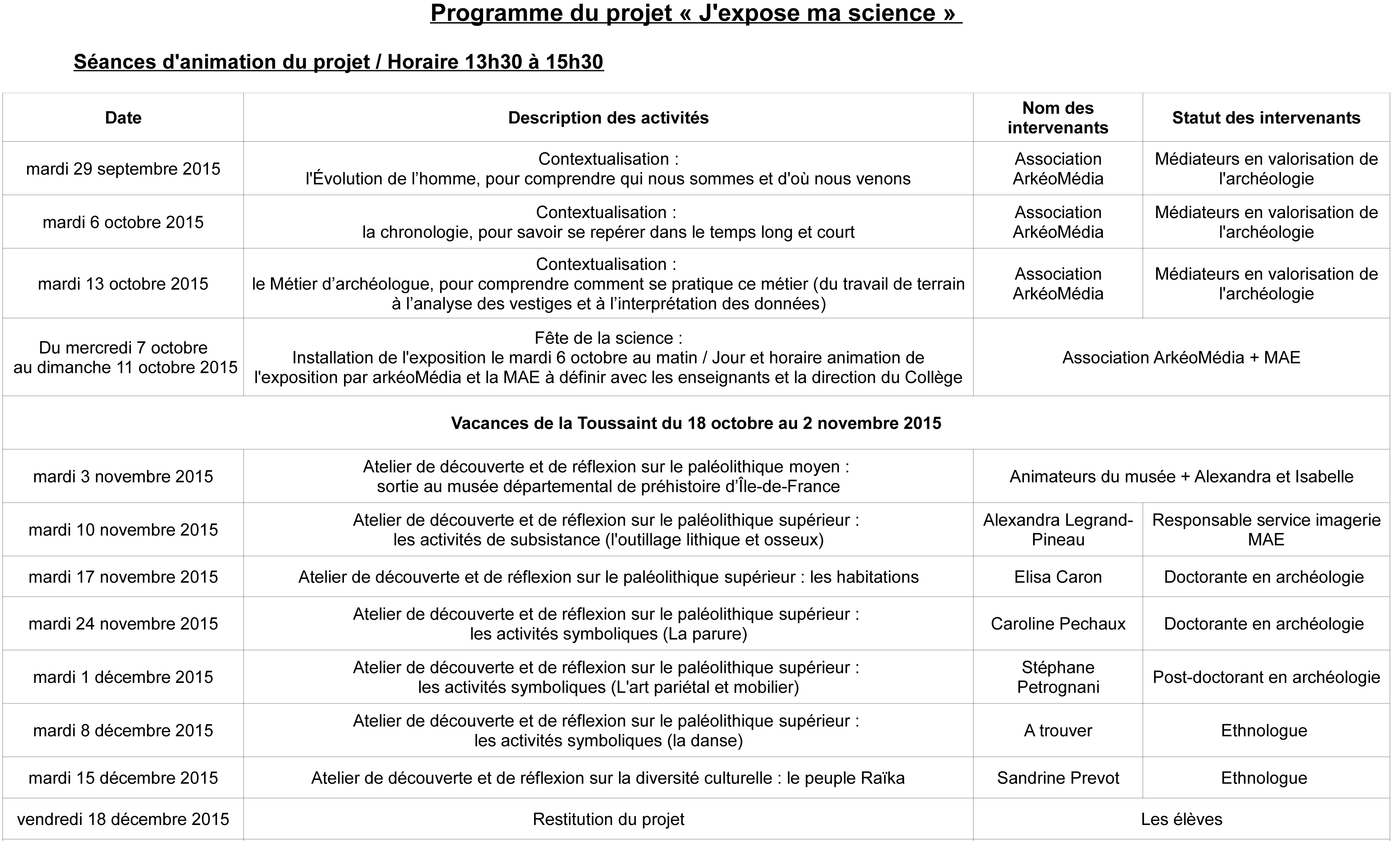 Programme J'expose ma science