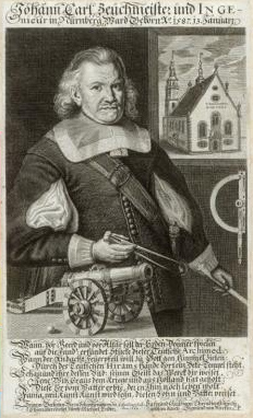 The Engineer Johann Carl. Engraving by Jakob von Sandrart, 1662