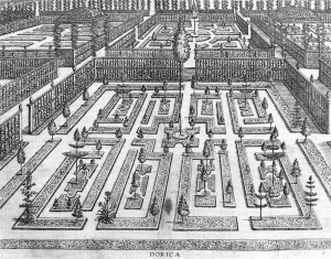 Hans Vredeman de Vries: the garden in style and manner of the dorica. Image or diagram of an ideal garden, Hortorum viridariorumque 1583.