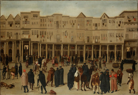'Lisbon, The Rua Nova dos Mercadores', c.1550-1600 (c) The Society of Antiquaries of London