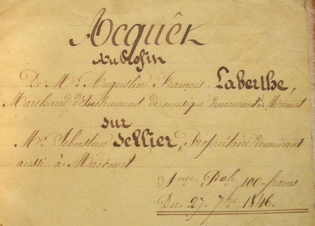 Acte daté de 1846 (Archives N. Laberte)