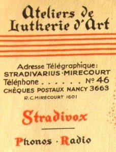 Stradivox mentionné sur le papier à entête de la maison Laberte et Magnié