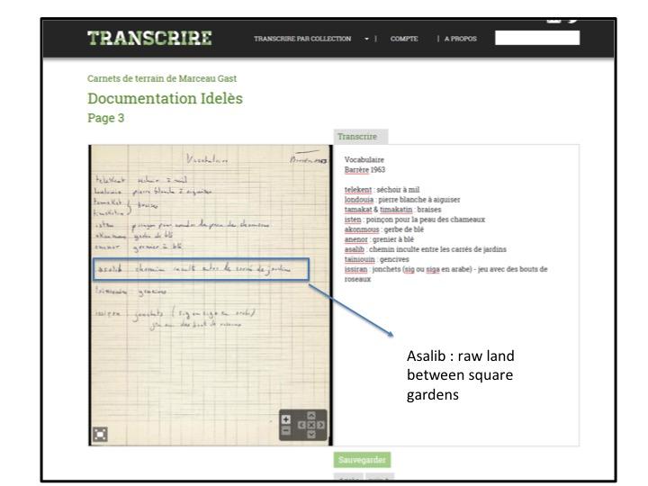 Asalib : transcrire, terme en tamahaq