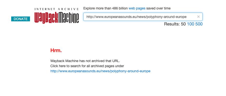 Wayback machine page informant que le billet n'a pas été archivé