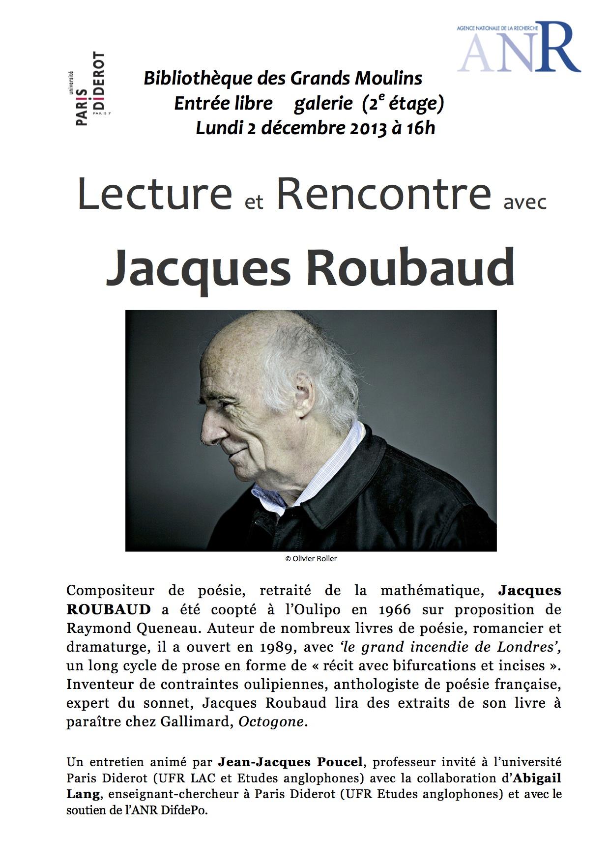 Lecture et rencontre avec Jacques Roubaud