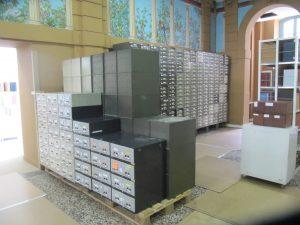 """Le """"mur de microfilms"""" en cours de reconstruction à Sainte-Barbe"""
