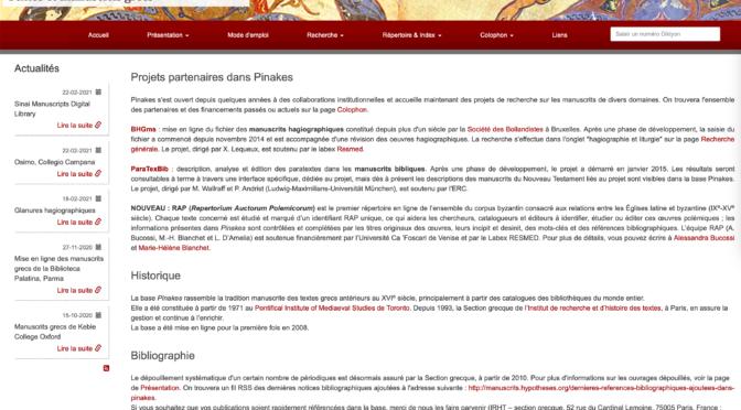 Bilan des activités dans la base Pinakes, 2020