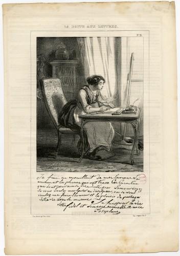 Planche n°21 de la série « La Boîte aux lettres » de Gavarni (1838) © Photo L'Adresse Musée de La Poste, Paris / La Poste