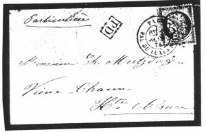 Enveloppe de deuil, 2 janvier 1874