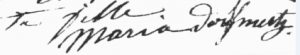 Marie Mertzdorff à 16 ans-1875 (nom signé à l'envers)
