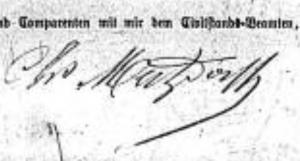 Signature de Ch. Mertzdorff sur un acte d'état-civil en Allemand (1872)