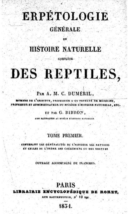 Erpétologie générale de Duméril et Bibron (numérisation BNF)