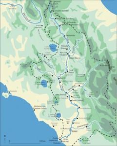 Fig. 1 : Le bassin hydrographique du Tibre (G. Boetto CNRS/CCJ)
