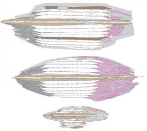 Fig. 3 : Comparaison entre les vestiges conservés des trois navires fluvio-maritimes de type caudicaria de Fiumicino (G. Boetto CNRS/CCJ)