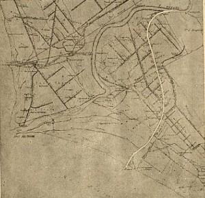 Projet de canal à petite section à travers la lagune d'Ostia bonifiée (P. Orlando, 1905. – Roma Porto di Mare. Roma, 23p.).