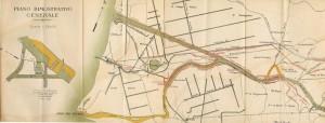 Projet d'un canal quelques kilomètres au nord du Fiumicino avec abandon de la Fiumara (C. Cipolletti, 1905. - Progetto di sistemazione del Tevere e della sua vallata. Roma, 24p.).