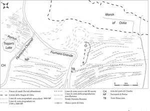 Fig. 5 – Lineamenti morfologici della piana deltizia del Tevere dedotti da fotointerpretazione.(Modificata da Bellotti et al.,2011)