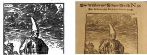 Detail aus: Melchior Lorck: Wolgerissene und Geschnittene Figuren. Hamburg: Hering, 1626, S. [57]. Detail aus: Türckis. Estats- und Krieges-Bericht Nr. 26. Hamburg: Thomas von Wiering, 1683, S. [1]v.