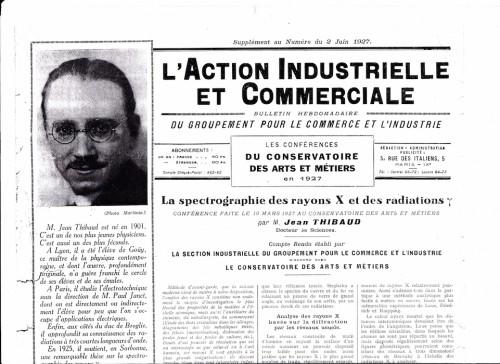Compte rendu d'une conférence donné aux Arts et Métiers par J. Thibaud.  Action industrielle et commerciale, supplément du 2 juin1927.