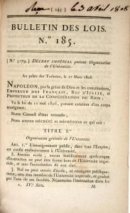 Decret impérial du 17 mars 1808 (extrait) Bulletin des Lois, n° 185